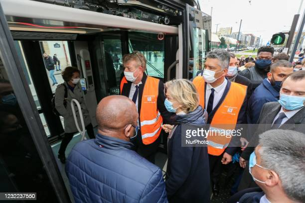 President of the French region of Ile-de-France Valerie Pecresse inaugurates the new tramway T9 tram line between Porte de Choisy and Orly City,...