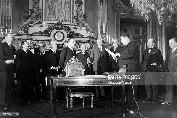 President of the French Republic Edouard Herriot reads the French-Soviet pact of non-aggression that he should sign with the Soviet representative...