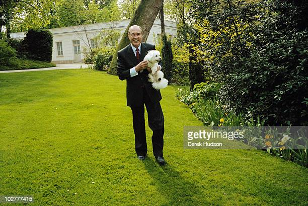 President of the French Republic Mr Jacques Chirac poses for a portrait in the gardens of the presidential residence in the Elysee Palace in Paris...