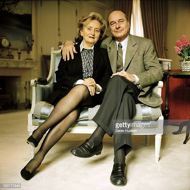 President of the French Republic Mr Jacques Chirac with his wife Bernadette as they pose in a drawing room of their private appartments in the...
