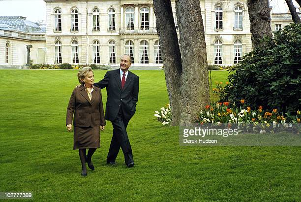President of the French Republic Mr Jacques Chirac with his wife Bernadette as they walk through the gardens of the presidential residence in the...