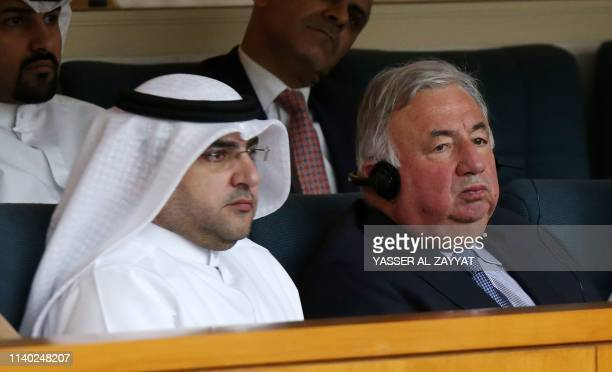President of the French Senate Gerard Larcher and Kuwait's National Assembly speaker Marzouq al-Ghanem attend a parliament session at the National...