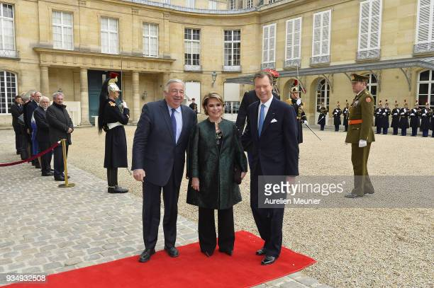 President of the French Senate Gerard Larcher receives Maria Teresa Grand Duchess of Luxembourg and Henri Grand Duke of Luxembourg at the French...
