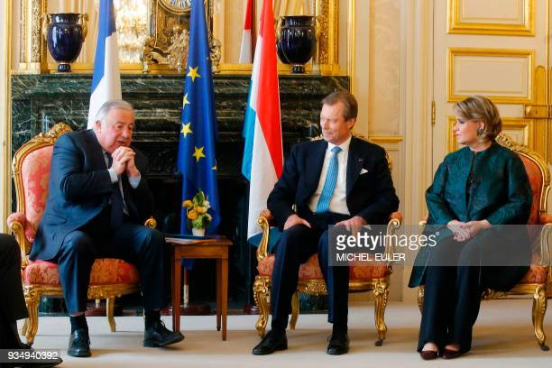 President of the French Senate, Gerard Larcher talks with Grand Duke Henri of Luxembourg and Grand Duchess of Luxembourg, Maria-Teresa during their...