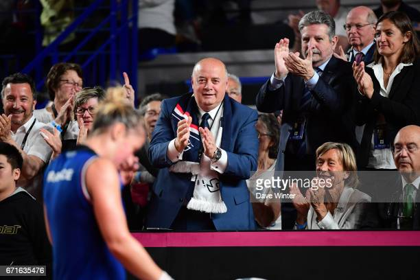 President of the French Tennis Federation Bernard Giudicelli during the Fed Cup match between France and Spain on April 22 2017 in Roanne France