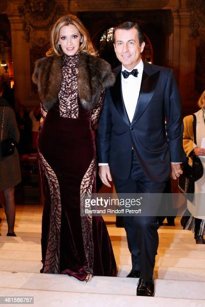 President of the Gala Ulla Parker and Cyril Karaoglan attend Arop Charity Gala with 'Ballet du Theatre Bolchoi' held at Opera Garnier on January 9...