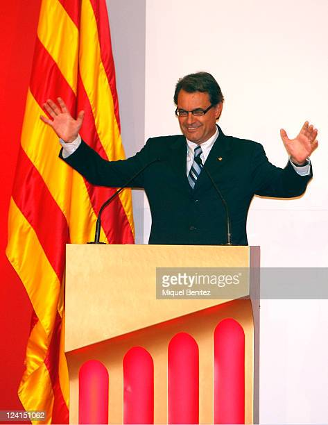 President of the Generalitat de Catalunya Artur Mas speaks at the gold medal ceremony honouring Pep Guardiola as recognition for his career and his...