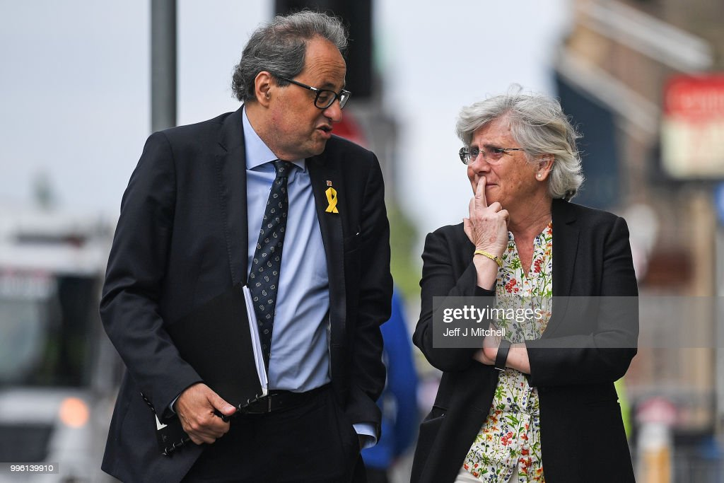 President of the Generalitat of Catalonia Quim Torra and former Catalan Minister Professor Clara Ponsati attend a press conference ahead of a meeting with Scotland's First Minister Nicola Sturgeon on July 11, 2018 in Edinburgh, Scotland. Clara Ponsati is wanted by Spanish authorities to face charges relating to last year's Catalan independence bid. She faces up to 33 years in prison for charges including violent rebellion and misappropriation of public funds.