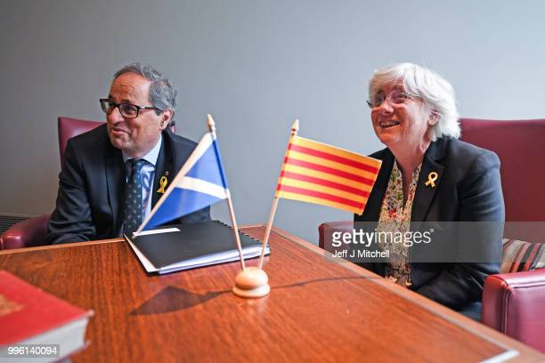 President of the Generalitat of Catalonia Quim Torra and former Catalan Minister Professor Clara Ponsati attend a press conference ahead of a meeting...