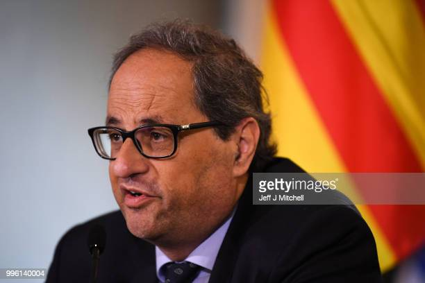 President of the Generalitat of Catalonia Quim Torra attends a press conference ahead of a meeting with Scotland's First Minister Nicola Sturgeon on...