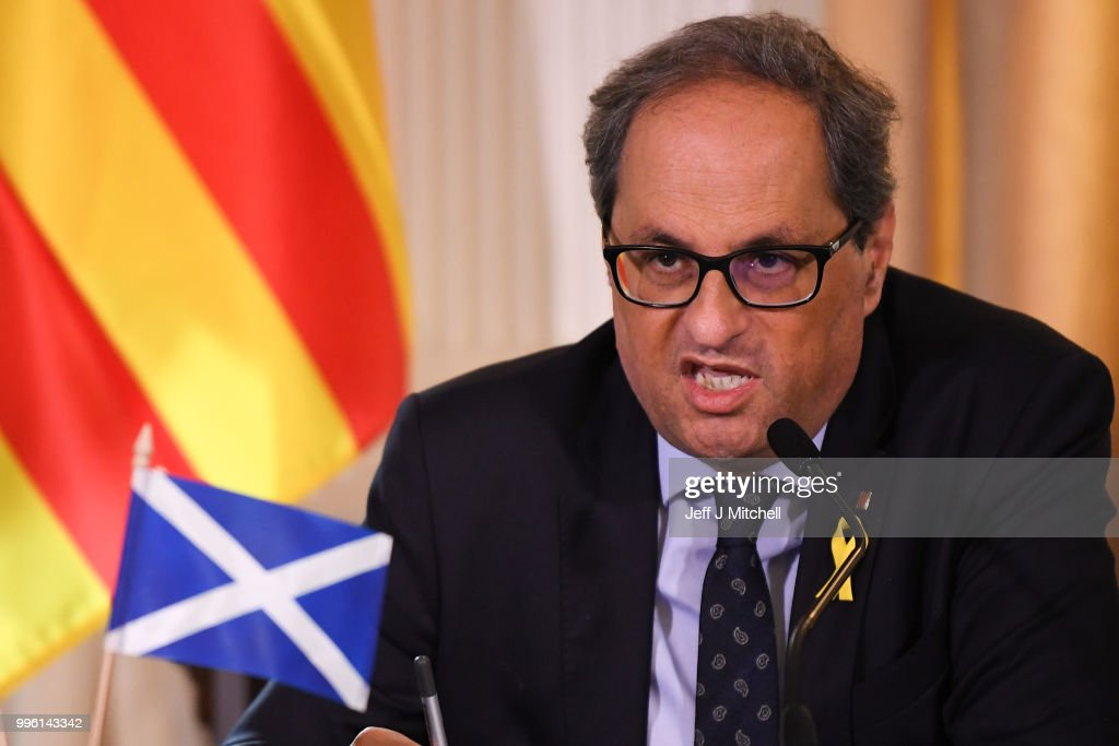 President of the Generalitat of Catalonia Quim Torra attends a press conference ahead of a meeting with Scotland's First Minister Nicola Sturgeon on July 11, 2018 in Edinburgh, Scotland. Clara Ponsati is wanted by Spanish authorities to face charges relating to last year's Catalan independence bid. She faces up to 33 years in prison for charges including violent rebellion and misappropriation of public funds.