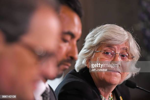 President of the Generalitat of Catalonia Quim Torra lawyer Aamer Anwar and former Catalan Minister Professor Clara Ponsati attend a press conference...