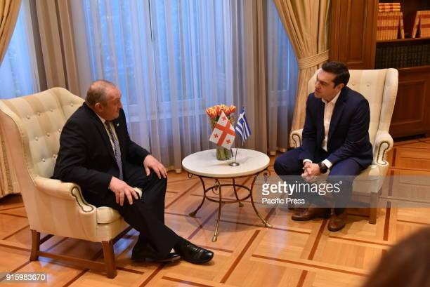 MANSION ATHENS ATTICA GREECE President of the Georgian Republic Giorgi Margvelashvili and Greek Prime minister Alexis Tsipras during their meeting