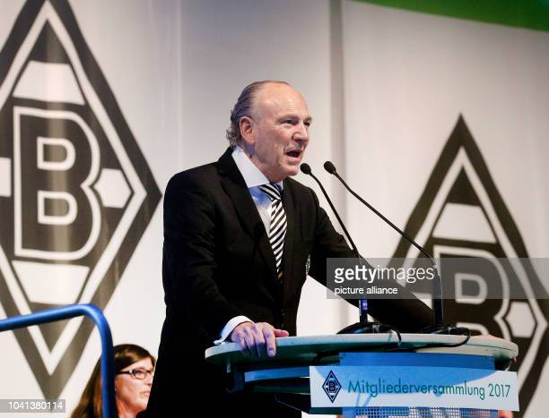 President of the German Bundesliga team Borussia Moenchengladbach Rolf Koenig speaks on stage during the annual general meeting in Moenchengladbach...
