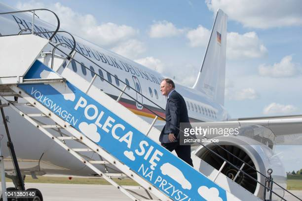 President of the German Bundesrat and Premier of Lower Saxony Stephan Weil boards an Airbus A319 of the German Flugbereitschaft at teh airport of...