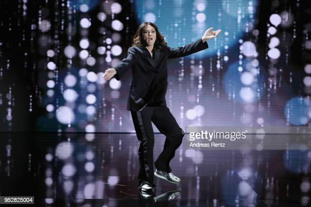 President of the German Film Academy Iris Berben performs on stage during the Lola German Film Award show at Messe Berlin on April 27 2018 in Berlin...