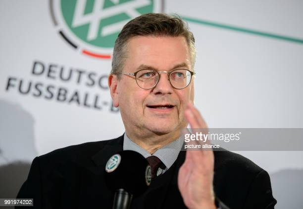 President of the German Football Association  Reinhard Grindel speaks at a press conference in Stuttgart Germany 21 November 2017 The German Football...