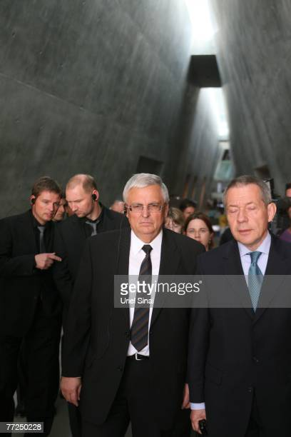 President of the German Football Association Theo Zwanziger is seen during a visit to the Yad Vashem Holocaust Memorial in Jerusalem ahead of a...