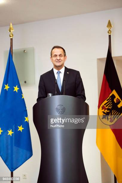 President of the German Olympic Sports Confederation Alfons Hoermann speaks during a ceremony to honour the members of the Bundeswehr who attended...