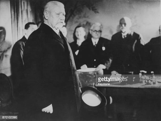 President of the German Reich Paul von Hindenburg in a polling booth in Berlin Germany during the Reichstag elections 6th November 1932