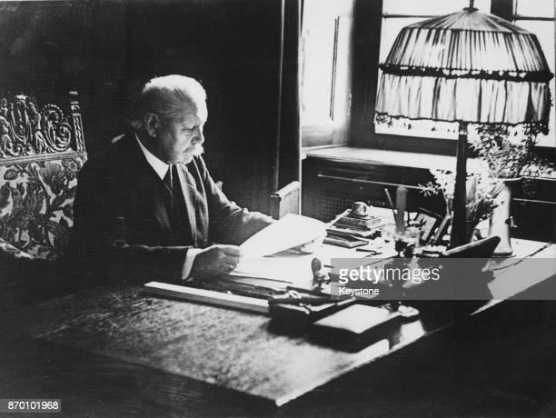 President of the German Reich Paul von Hindenburg in his study the day before making a public wireless announcement about the upcoming presidential...