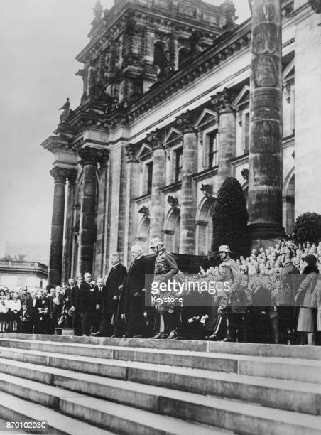 President of the German Reich Paul von Hindenburg leaves the Reichstag in Berlin after the Constitution Day ceremony celebrating the 11th anniversary...