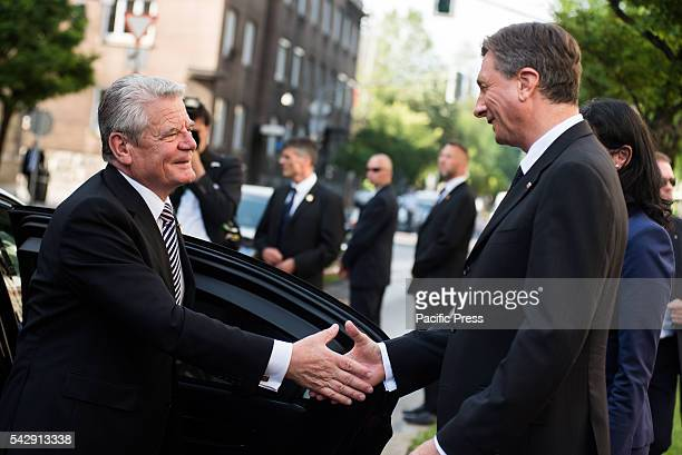President of the Germany Joachim Gauck greeted by President of the Republic of Slovenia Borut Pahor during the ceremony for 25 years of independence...