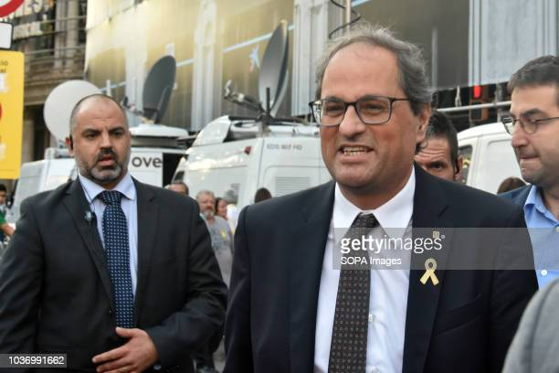 President of the Government of Catalonia Quim Torra seen speaking to the media during protests in support of Catalonia's independence and commemorate...