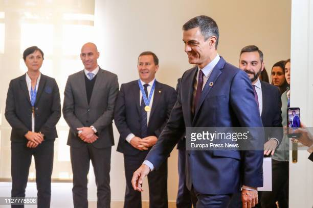 President of the Government Pedro Sanchez meets at La Moncloa the female national Sub 17 football team in presidente of coach Toña Is and the...