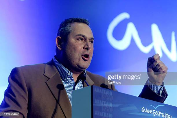 President of the government's junior coalition member Independent Greeks and Greek Defense Minister Panos Kammenos delivers a speech the second day...