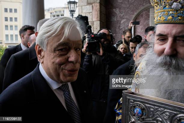 President of the Greek Republic Prokopis Pavlopoulos along with Metropolitan of Piraeus Seraphim take part during the celebration of the Epiphany day...