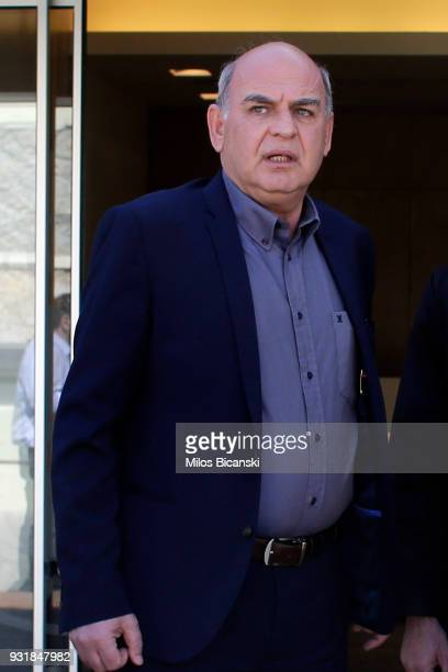 President of the Hellenic Football Federation Vangelis Grammeno attends a press conference at the Federation's premises on March 14 2018 in Athens...