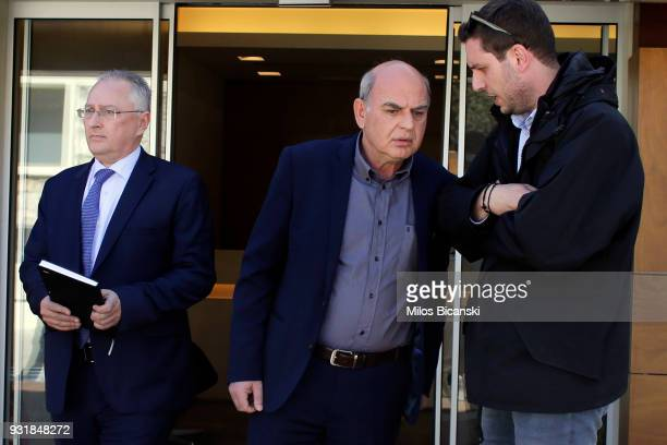 President of the Hellenic Football Federation Vangelis Grammenos speaks to associates at the Federation's premises on March 14 2018 in Athens Greece...