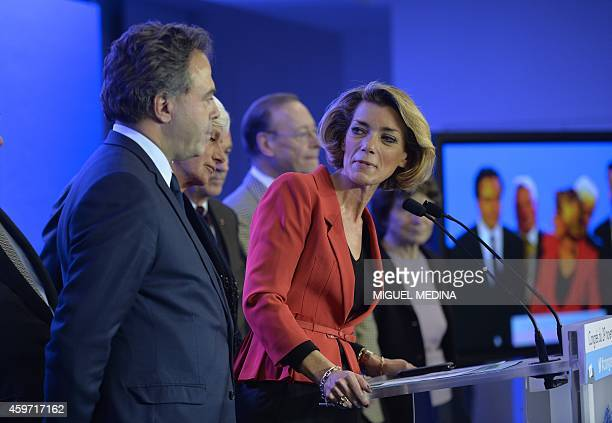 President of the high authority of the French rightwing UMP party Anne Levade flanked by French rightwing main opposition party UMP acting general...