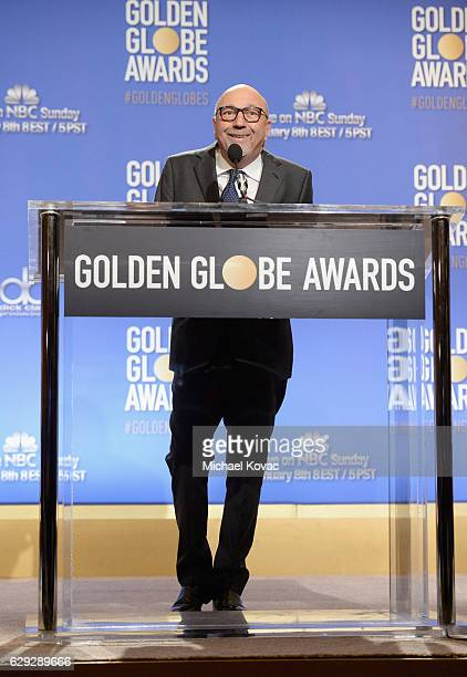 President of the Hollywood Foreign Press Association Lorenzo Soria speaks onstage during Moet Chandon toast to the 74th Annual Golden Globe Awards...