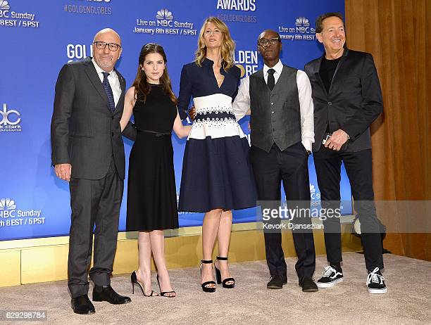 President of the Hollywood Foreign Press Association Lorenzo Soria Anna Kendrick Laura Dern Don Cheadle and EVP of Television for Dick Clark...