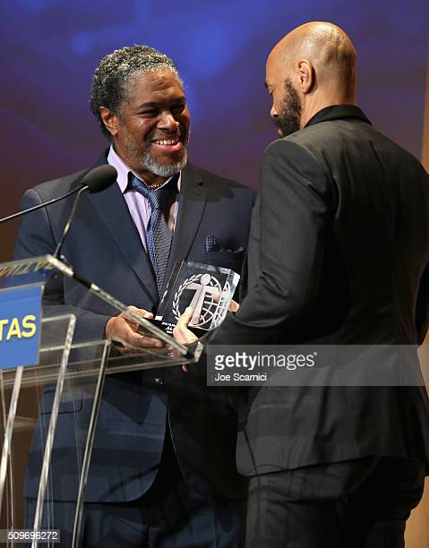 President of the Humanitas Awards Ali LeRoi presents the Kieser Award to John Ridley onstage during the 41st Humanitas Prize Awards Ceremony at...