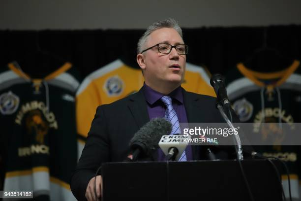 President of the Humboldt Broncos Kevin Garinger addresses addendees April 8 2018 at the Humboldt Uniplex in Humboldt Canada prior to a memorial...