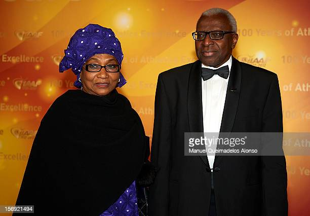 President of the IAAF Lamine Diack and his wife Bintou Diack attend the IAAF Centenary Gala at the Museo Nacional d'Art de Catalunya on November 24...