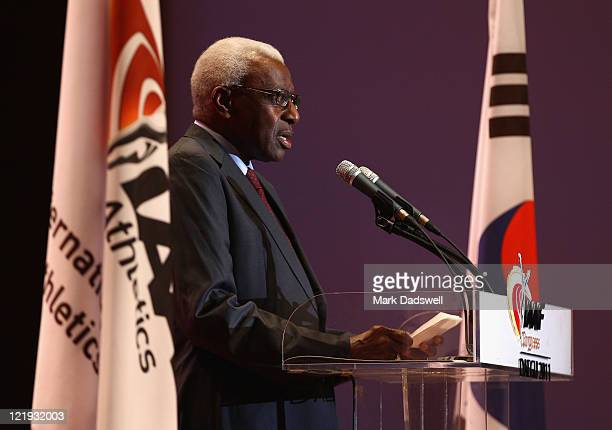 President of the IAAF Mr Lamine Diack speaks at the Opening Ceremony of the 48th IAAF Congress at the Exco Hotel Grand Ballroom on August 23 2011 in...