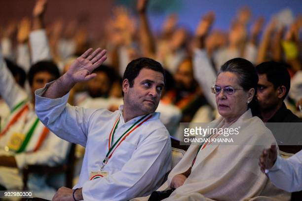President of the Indian National Congress Party Rahul Gandhi and former Congress Party president Sonia Gandhi attend the 48th Congress plenary...
