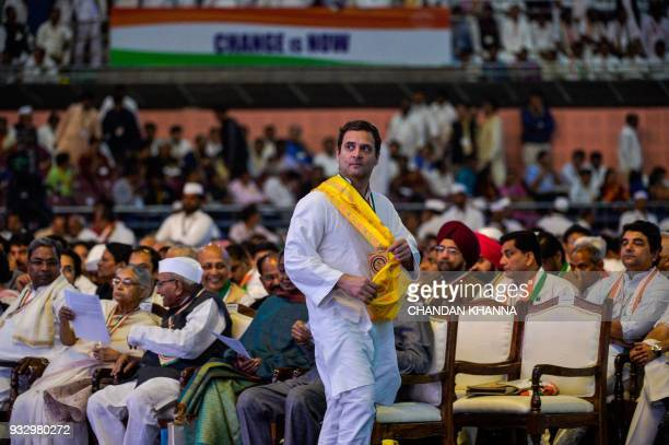President of the Indian National Congress Party Rahul Gandhi attends the 48th Congress plenary session in New Delhi on March 17 2018 Rahul Gandhi's...