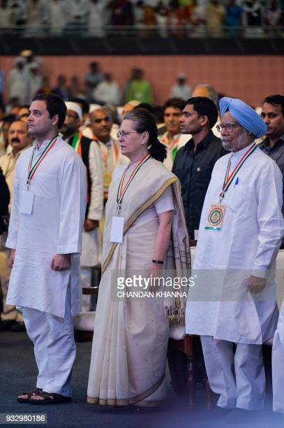 President of the Indian National Congress Party Rahul Gandhi former Congress Party president Sonia Gandhi and senior Congress leader and exprime...