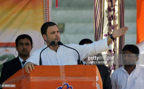 President of the Indian National Congress party Rahul Gandhi gestures while addressing an election rally ahead of legislative assembly elections in...