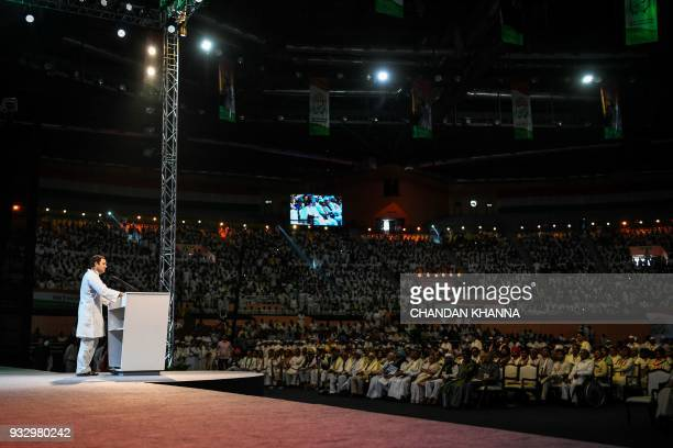 President of the Indian National Congress Party Rahul Gandhi speaks during the 48th Congress plenary session in New Delhi on March 17 2018 Rahul...
