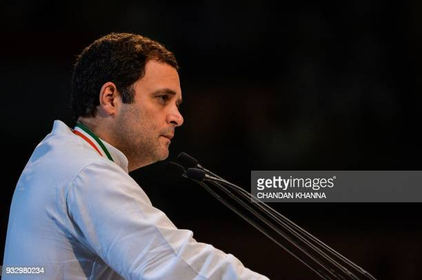 President of the Indian National Congress Party Rahul Gandhi addresses the 48th Congress plenary session in New Delhi on March 17 2018 Rahul Gandhi's...