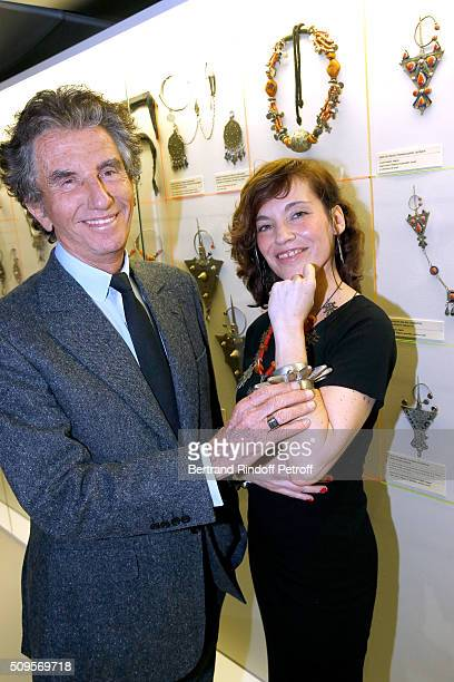 President of the Institut du Monde Arabe Jack Lang and Actress Elodie Mennegand wearing jewelry of the collection attend the Opening of the...