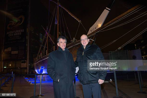 President of the 'Institut du Monde Arabe' Jack Lang and HSH Prince Albert II of Monaco visit Aventurier Des Mers Exhibition at Institut du Monde...