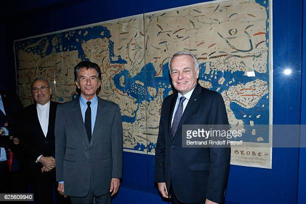 President of the 'Institut du Monde Arabe' Jack Lang and Minister of Foreign Affairs and International Development JeanMarc Ayrault attend the...