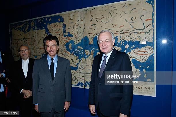 President of the 'Institut du Monde Arabe' Jack Lang and Minister of Foreign Affairs and International Development, Jean-Marc Ayrault attend the...